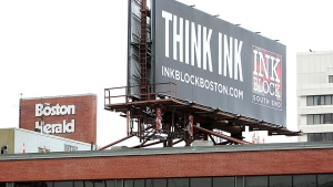 (Boston, MA - 1/15/13) Ink Block South End billboard on the old Boston Herald building, Tuesday, January 15, 2013. Staff photo by Angela Rowlings.